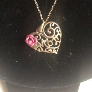 Sterling silver • MOM • necklace with a pink rose